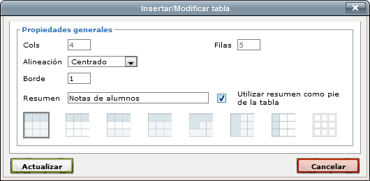 Example dialogue insert new table