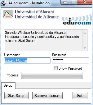 Aplicación eduroam para Windows